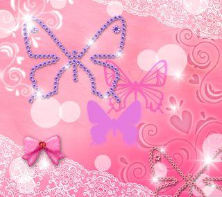 Обои на телефон лук, розовые, любовь, лента, бабочки, арт, абстрактные, pink butterflies, love, glittery, art