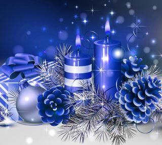 Обои на телефон каникулы, синие, рождество