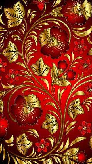 Обои на телефон узоры, шаблон, цветы, приятные, красые, золотые, девчачие, блестящий, блестящие, арт, gold and red, art, 4k