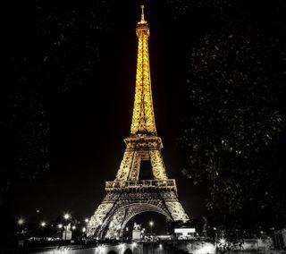Обои на телефон париж, огни, ночь, золотые, башня