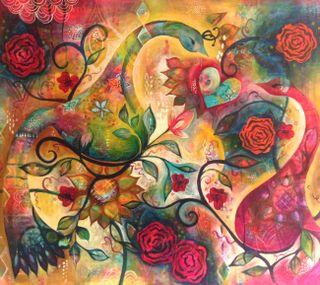 Обои на телефон картина, симпатичные, сердце, птицы, красочные, абстрактные