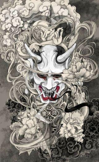 Обои на телефон тату, японские, рисунки, развлечения, маска, картина, демон, gouki, akuma