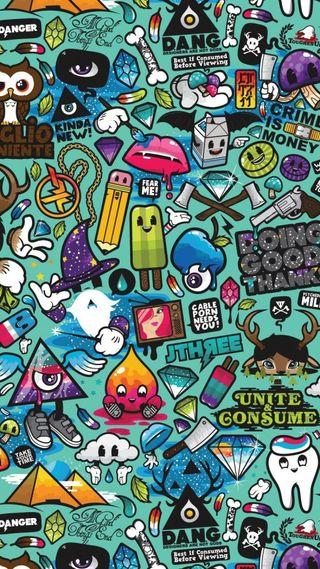 Обои на телефон стикеры, граффити, цветные