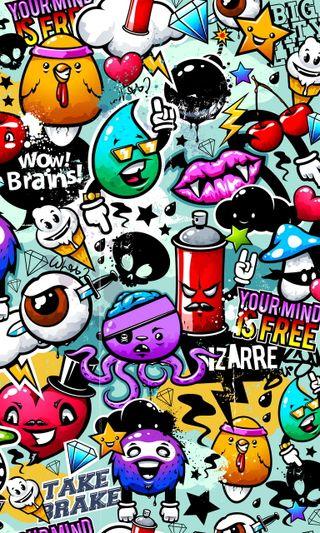 Обои на телефон стикеры, граффити, абстрактные, bizarre