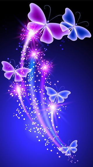 Обои на телефон сияние, цветные, фиолетовые, синие, неоновые, бабочки, абстрактные