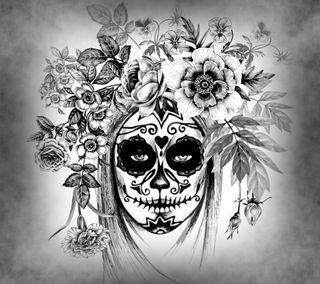 Обои на телефон день, черные, мертвый, белые, арт, абстрактные, day of the dead, art
