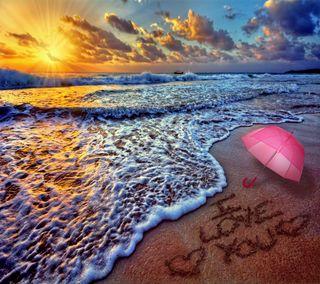 Обои на телефон амбрелла, ты, сердце, романтика, пляж, песок, море, любовь, закат, love, i love you