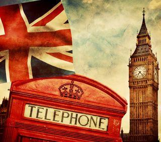Обои на телефон часы, стиль, флаг, лондон, британия, telephone, booth