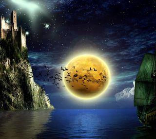 Обои на телефон корабли, океан, ночь, луна, лодки, замок