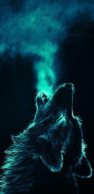 Обои на телефон туманность, животные, волк