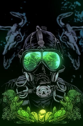 Обои на телефон светящиеся, радиоактивный, маска, комиксы, киллер, зеленые, газ, бэтмен, dc, croc