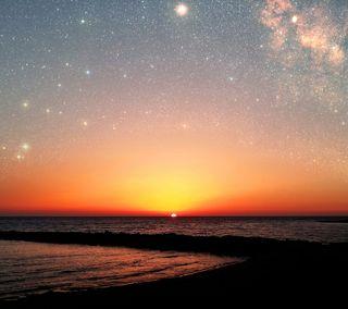 Обои на телефон море, красочные, звезды, закат, галактика, андроид, s5, note 3, hd, galaxy, cyprus, android