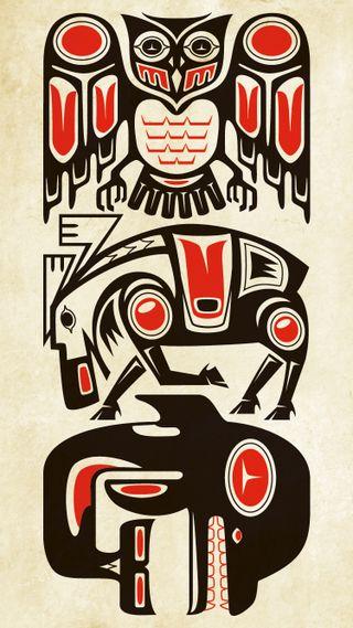 Обои на телефон племенные, тату, сова, канада, животные, orca, moose, haida animals, haida