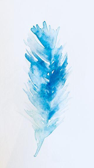 Обои на телефон мягкие, синие, рисунки, перо, watercolour