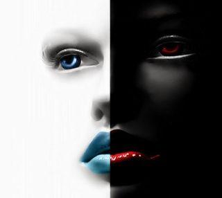 Обои на телефон демон, черные, лицо, белые, ангел, angel and demon