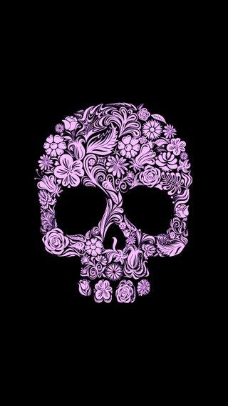 Обои на телефон готические, черные, череп, цветы, фиолетовые