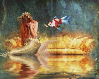 Обои на телефон подводные, рыба, русалка, море, красота, девушки, грустные, redhead