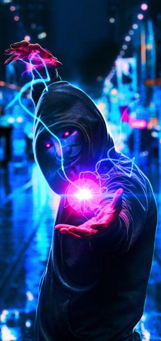 Обои на телефон синие, розовые, парень, неоновые, маска, анонимус, neon mask, hd, electricity, 4k