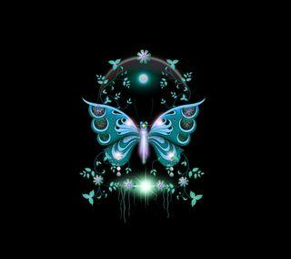 Обои на телефон бабочки, синие, дизайн, butterfly 2