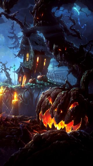 Обои на телефон тыква, хэллоуин, страшные, ночь, дом