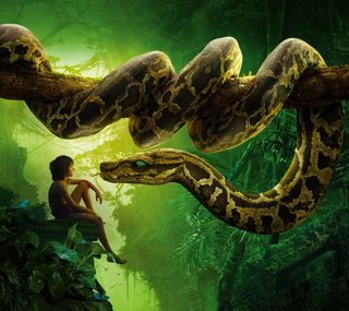 Обои на телефон джунгли, фильмы, книга, mowgli, jungle book kaa, 2016