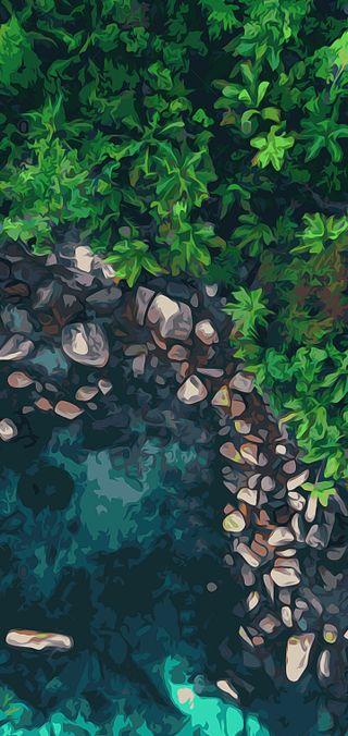 Обои на телефон водопад, эпл, природа, пейзаж, минимализм, естественные, галактика, natural minimal, galaxy, apple