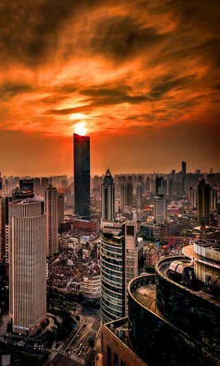 Обои на телефон страна, новый, крутые, здания, закат, город, toyko
