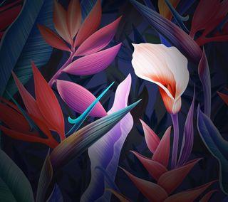 Обои на телефон матовые, хуавей, фиолетовые, стена, стандартные, синие, розовые, листья, красочные, mate 10, huawei mate 10