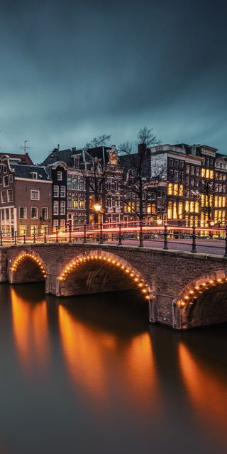Обои на телефон мост, город, amsterdam