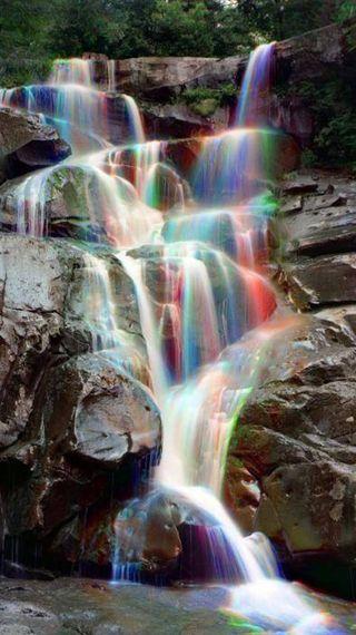 Обои на телефон водопад, радуга, природа, rainbow waterfall