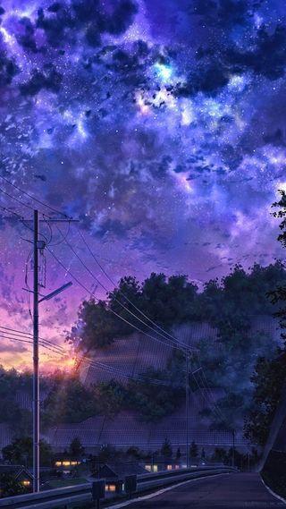 Обои на телефон вечер, фон, улица, аниме, anime background