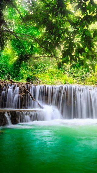 Обои на телефон водопад, природа, лес, дерево, вода