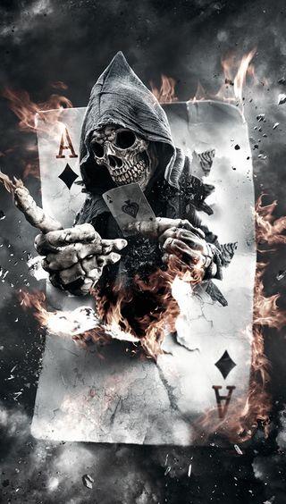 Обои на телефон карты, череп, туз, скелет, покер