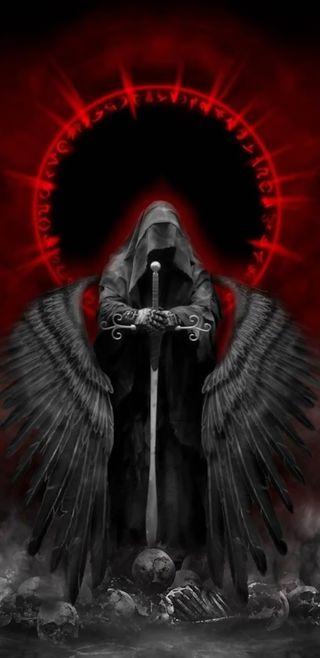 Обои на телефон жнец, ужасы, смерть, мрачные, ангел, note 8, death angel