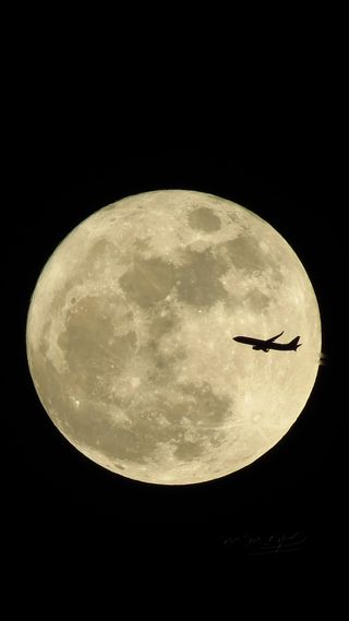 Обои на телефон самолет, луна, космос, moon and plane, fullmoon