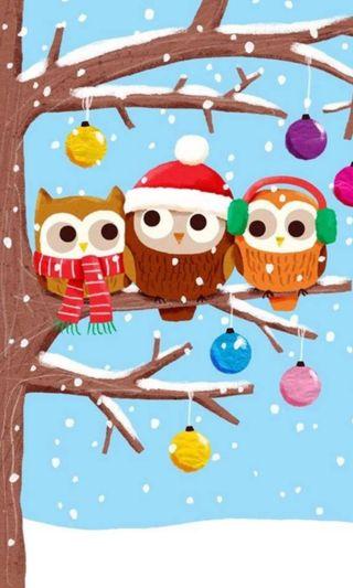 Обои на телефон owls christmas, рождество, мультфильмы, зима, снег, счастливое, сова