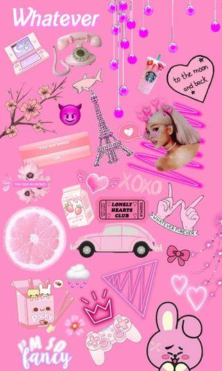 Обои на телефон коллаж, темы, розовые, девчачие, girly collage, arianna grande