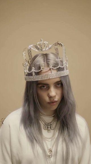 Обои на телефон эйлиш, фон, песни, музыка, корона, билли, in a crown
