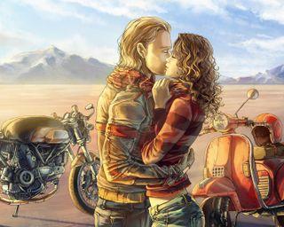 Обои на телефон настроение, поцелуй, мотоциклы, любовь, картина, байк, love