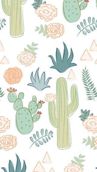 Обои на телефон узоры, шаблон, кактус, cactus pattern, cacti