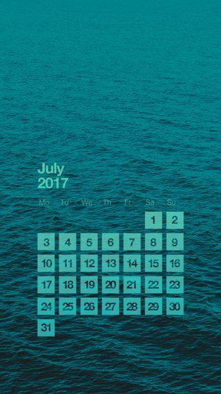 Обои на телефон чистые, синие, простые, океан, море, календарь, июль, зеленые, вода, zedgecalendar, sea calendar july 17, hd, 2017