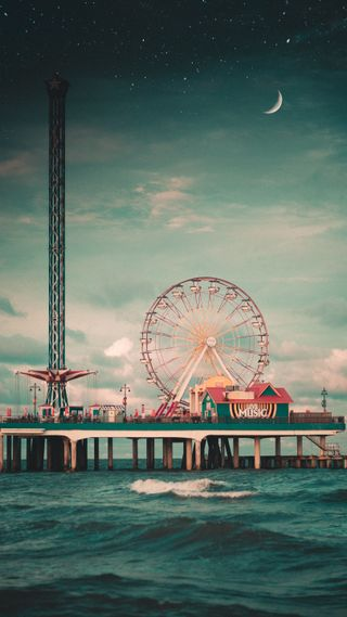 Обои на телефон колеса, солнце, солнечные, пейзаж, океан, закат, farris wheel