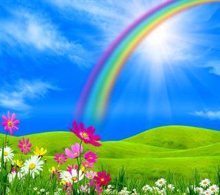 Обои на телефон солнечный свет, цветы, радуга, луг, весна
