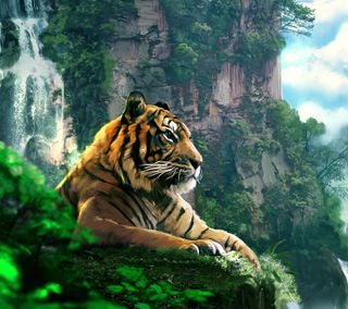 Обои на телефон хищник, тигр, природа, кошки, картина, животные, арт, art