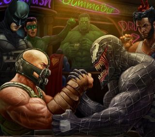 Обои на телефон против, паук, марвел, комиксы, веном, бэтмен, бэйн, spider man, marvel, bane vs venom