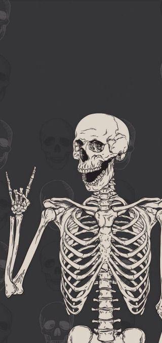 Обои на телефон скелет, хэллоуин, rockon