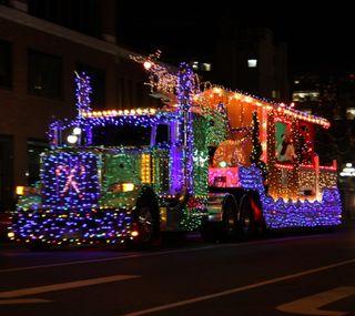 Обои на телефон грузовик, рождество, ночь, дорога