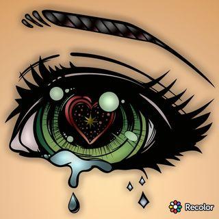 Обои на телефон чернила, тату, слеза, красые, зеленые, звезда, глаза, geh