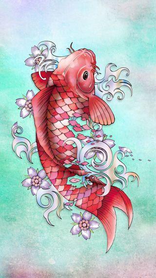 Обои на телефон рыба, японские, карп, драгоценность, koifish, garnet koi fish