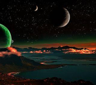 Обои на телефон луна, космос, небо, каньон, звезда, горы